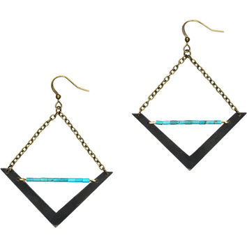 Crow Jane Jewelry Geometric Brass V Earrings with Turquoise One Color, One