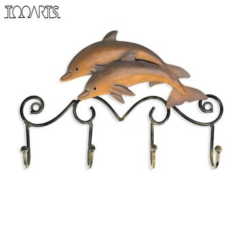 Tooarts Antique Dolphin Wall Hanger Hooks for Clothes Towel Key  Hook Holder
