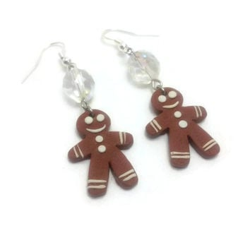 Gingerbread Man Earrings, Gingerbread Boy, Christmas Jewelry, Polymer Clay Earrings, Mini Food Jewelry, Cookie Earrings