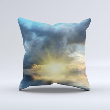 Calm Ocean Sunset Ink-Fuzed Decorative Throw Pillow
