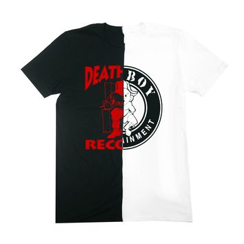 """Bad Boy Meets Death Row"" Split Tees in Black/Whi"