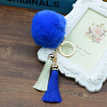 New Arrival 2017 Cute Rabbit Fur Ball Key Chain Keychain llaveros mujer Fluffy Fur Pom Pom Keychain Tassel Car Bag Key Ring