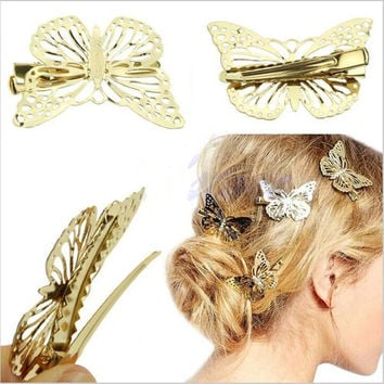 2016 Hot fashion Women Shiny Golden Butterfly Hair Clip Headband Hairpin Accessory Headpiece Apparel Hair Accessories