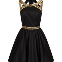 Gold sequinned party dress