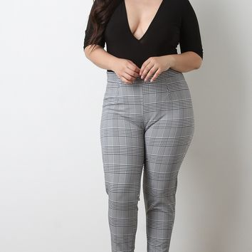 Plaid High Waisted Skinny Pants