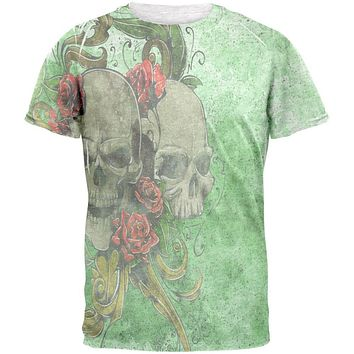 St. Patricks Day Deadly Wild Irish Rose Skull Tattoo Mens T Shirt