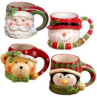 "Certified International ""Santa, Snowman, Penguin & Bear"" 3D Figural Mugs (Set of 4), Multicolor"
