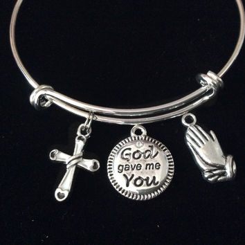 God Gave Me You Praying Hands Cross Expandable Charm Bracelet Silver Adjustable Bangle Trendy Gift Communion Confirmation