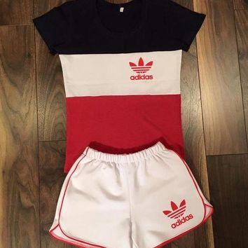 One-nice™ Women Fashion Adidas Print Short sleeve Top Shorts Pants Sweatpants Set Two-Piece Sportswear H 8-8