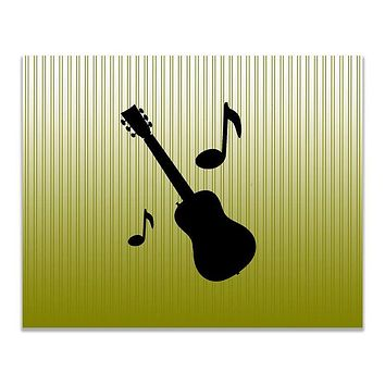 Guitar with Musical Notes Children's Print Wall Art