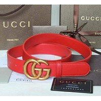 GUCCI Classic Popular Woman Men Smooth Buckle Belt + Gift Box Red I/A