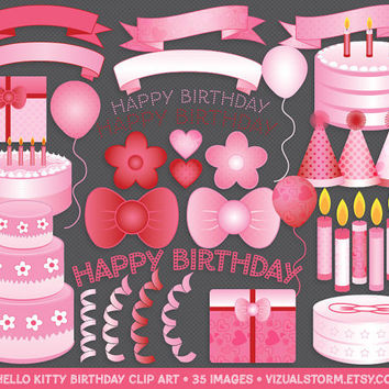 Pink Birthday Clip Art, Hello Kitty, cakes, bows, candles, balloons, present, banners, letters, ribbon, hat, daisy, hearts, Buy 2 Get 1 Free
