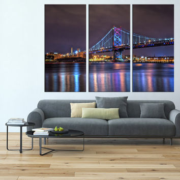 Philadelphia wall art, Ben franklin bridge skyline art Print, extra large wall art, canvas art for large wall,  modern wall art canvas t128