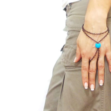 Slave Bracelet, Hipster Bronze Turqouise Chain Boho, Two Strand Ring Finger Hand Jewelry, Ring bracelet, Egyptian jewelry, Turquoise Stone