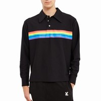 Xander Zhou Rainbow Printed Long-Sleeve Polo Shirt - MEN - JUST IN - Xander Zhou - OPENING CEREMONY