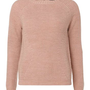 Blush Jumper with Silver Zip - Knitwear - Clothing