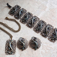 Lizard Gecko Necklace Bracelet Clip Earrings Filigree Look U.S. Zone Germany Vintage V0734
