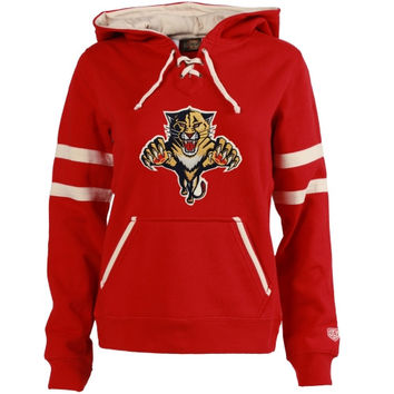Florida Panthers Old Time Hockey Women's Grant Lace-Up Slim Fit Hoodie - Red
