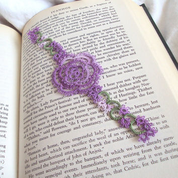 Tatted Rose Bookmark , Lilac Lace - Rosa Version 1