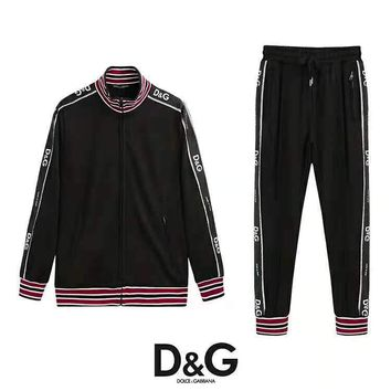 Dolce & Gabbana high quality new fashion string mark print sports leisure stripe women men long sleeve top and pants two piece suit