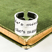 She's Mine | He's Mine Ring Set - Couples Promise Rings - Adjustable Aluminum Ring Set