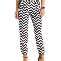 Zipper Pocket Chevron Jogger Pants by Charlotte Russe - Black/White