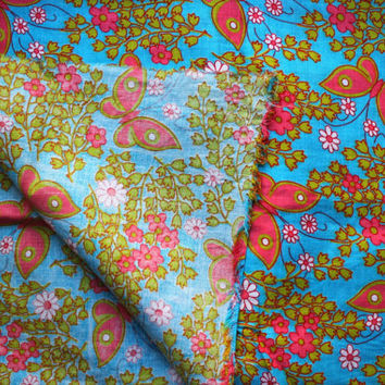 Vintage cotton fabric 2.75 yards in 1 listing green pink turquoise blue floral boho butterfly