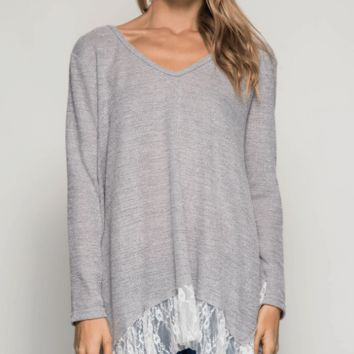 Long Sleeve Asymmetrical Lace Hem Top