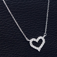 925 sterling silver zircon heart necklace ,personalized fashion necklace ,a perfect gift