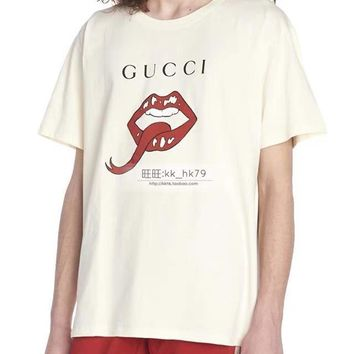 GUCCI Red lips tongue Fashion Men Women T-shirt cotton White