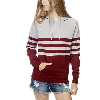 Fashion Women Autumn Winter Striped Print Hooded T shirt Long Sleeve Pocket Tee Shirt Femme Women Clothes Ropa Mujer #1121