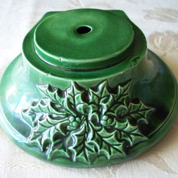 Vintage Green Ceramic Christmas Tree Base with Holly