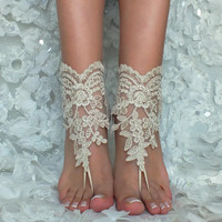 Champagne or ivory lace barefoot sandals wedding barefoot Flexible wrist lace sandals Beach wedding barefoot sandals Wedding sandals Bridal