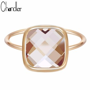 Chandler 2017 Antique Orange Big Austrian Crystal Rings For Women Wedding Band Sliming Finger Turkish Engagement Accessaries