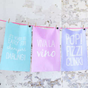 top up? tea towels, set of three by hey holla | notonthehighstreet.com