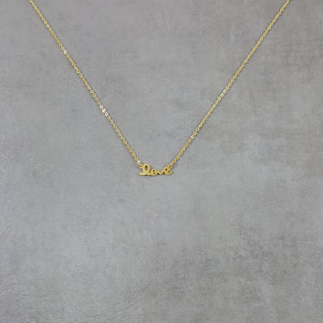 Love Cursive Gold Necklace