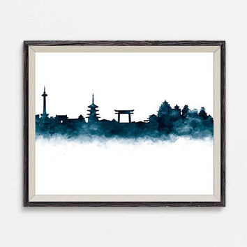 Kyoto Print Kyoto Skyline Japan Print Wall Art Watercolor Printable Kyoto Cityscape Poster Travel Gift Office Home Decor Digital Download