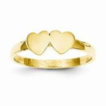 14k Yellow Gold Childs Double Heart Ring