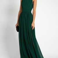 Square-neck sleeveless silk-georgette gown | Elie Saab | MATCHESFASHION.COM UK
