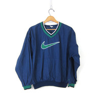 vintage NIKE pullover windbreaker. blue and green. slouchy nylon workout shirt. athletic wear / sports sporty track pullover jacket Size XL