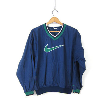 vintage NIKE pullover windbreaker. blue and green. slouchy nylon workout  shirt. athlet 57d5eba91