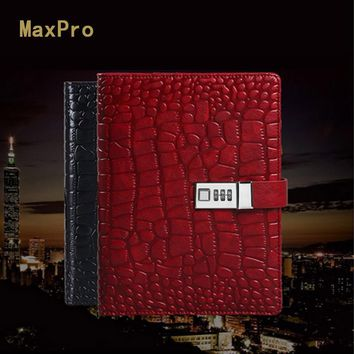 MaxPro  A5 Vintage Ancient Crocodile texture Leather spiral loose leaf refillable organizer planner notebook filofax file folder