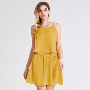 Yellow Spaghetti Strap Two-Piece Dress