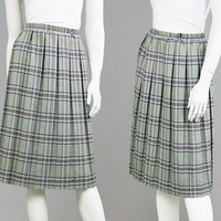 Vintage 90s Pastel Green Tartan Skirt Plaid Skirt Checked Skirt Midi Skirt Box Pleat XL Skirt Plus Size Skirt Grunge Skirt Womens Kilt 1990s