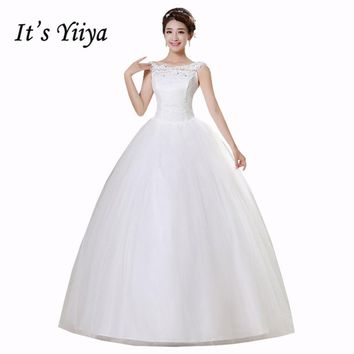 It's Yiiya White Cheap Sleeveless Floor Length Wedding Dresses Lace Boat Neck A-line Simple Bride Dress Vestidos De Novia HS164