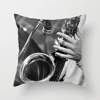 Jazz and Saxophone Throw Pillow by Cinema4design