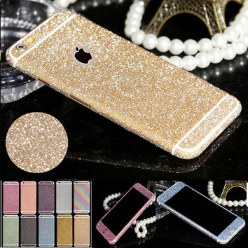 Best Selling Full Body Glitter Sticker For iPhone 4 4s 5 5s SE 6 6s Plus 6Plus Matt Screen Protector Guard Shiny Phone Skin Case