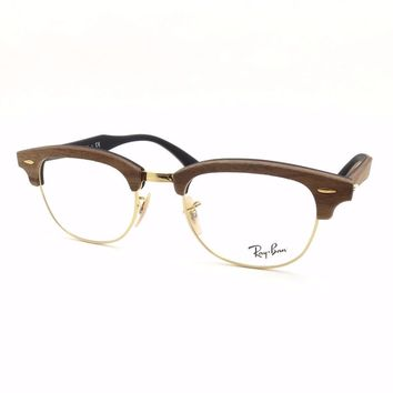 Ray Ban RB 5154 M Clubmaster Wood 5560 Walnut Rubber Black New Authentic