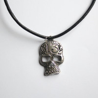 Gunmetal 13th Skull attached to Black Leather Necklace, arrives with satin pouch