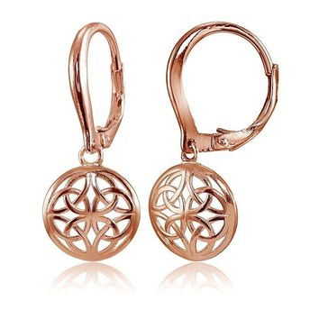 Rose Gold Flashed 925 Silver Polished Filigree Round Dangle Leverback Earrings
